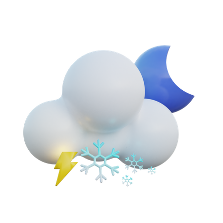 Snowy And Lightning Clear Night 3D Illustration