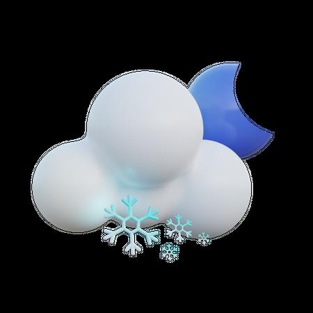 Snowy Night 3D Illustration