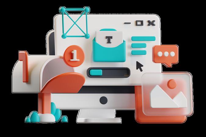 Social Communication 3D Illustration