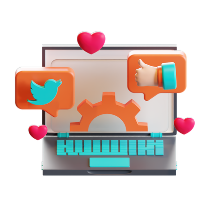 Social management 3D Illustration