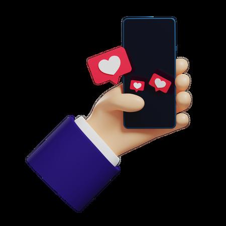 Social Media Like 3D Illustration