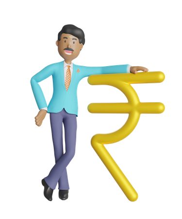 South Indian businessman leaning on Indian currency symbol rupee 3D Illustration