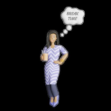 South Indian businesswoman enjoying break time 3D Illustration