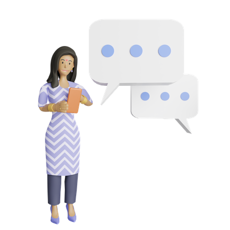 South indian woman chatting on mobile 3D Illustration