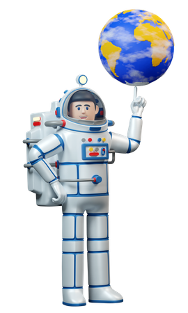 Spaceman twirls the planet earth on his finger 3D Illustration