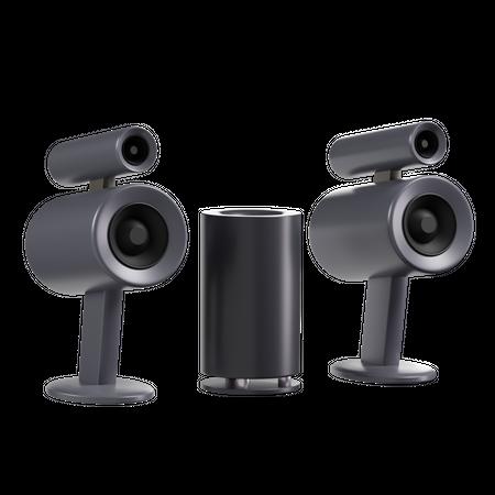 Speaker And Woofer Set 3D Illustration