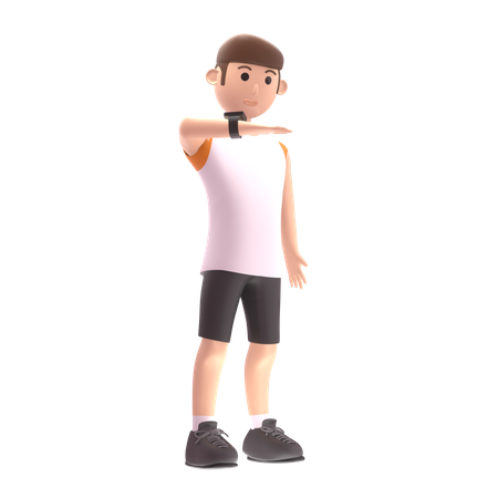 Sports person looking at smart watch 3D Illustration