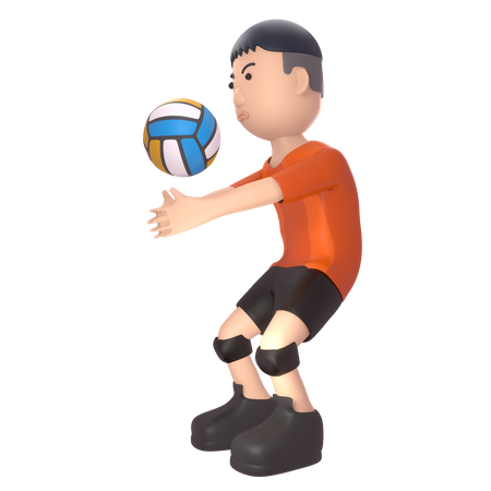 Sportsperson playing volleyball 3D Illustration