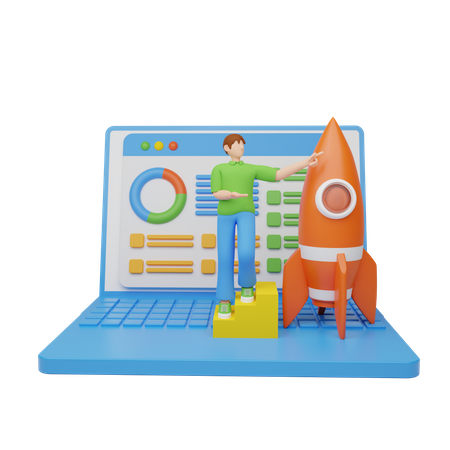 Startup analysis 3D Illustration