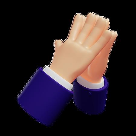 Steepling hands gesture 3D Illustration