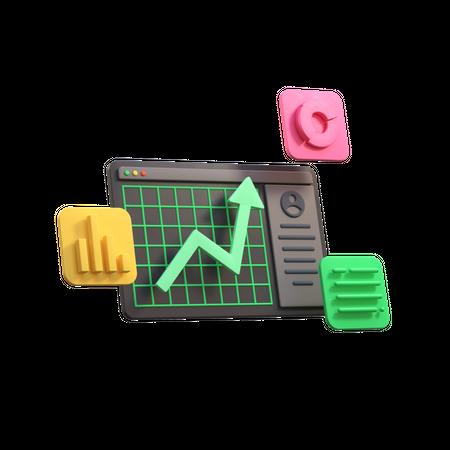 Stock market 3D Illustration