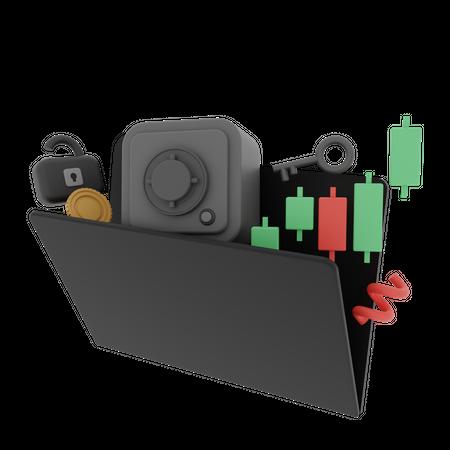 Stock Market Analytics 3D Illustration