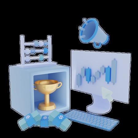 Stock Market Marketing Campaign 3D Illustration