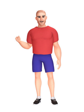Strong man 3D Illustration