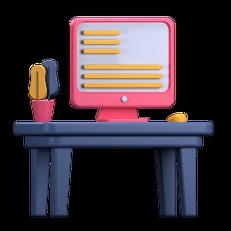 Study Desk 3D Illustration