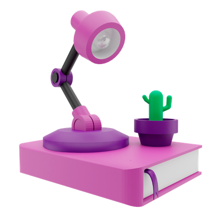 Study Lamp And Book 3D Illustration