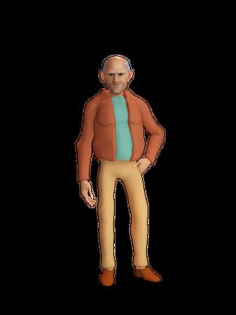 Stylish old man 3D Illustration