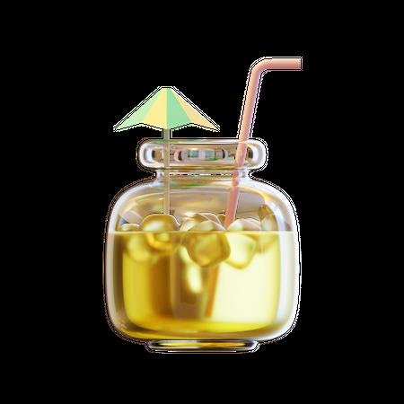 Summer Beverage In Jar 3D Illustration