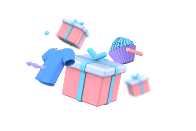 T-shirt with gift box 3D Illustration
