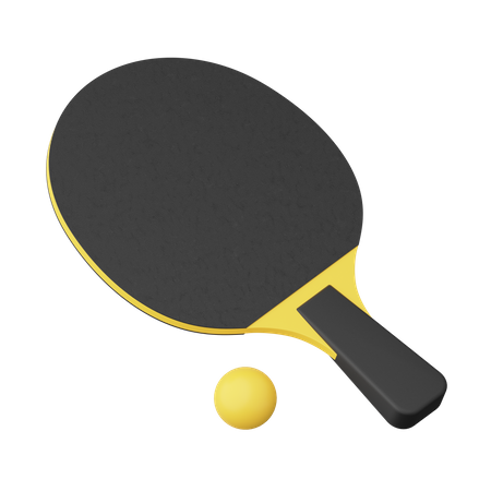 Table Tennis Bat And Ball 3D Illustration