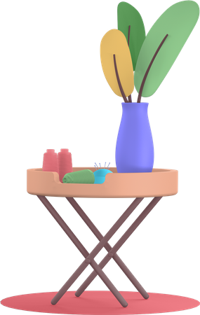 Table with vase plant 3D Illustration