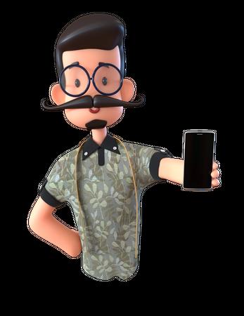 Tailor Showing Phone 3D Illustration