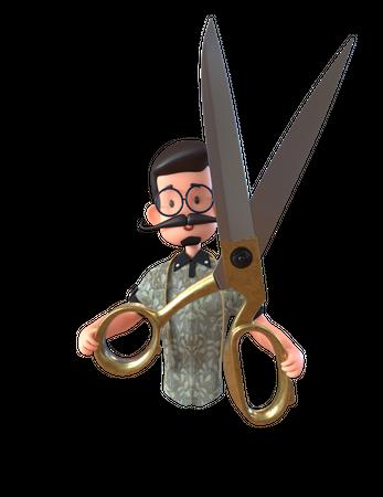 Tailor With Scissor 3D Illustration