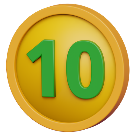 Ten Coin 3D Illustration