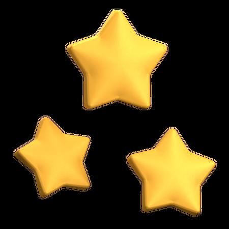 Three Star Rating 3D Illustration