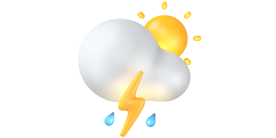Thunder with rain 3D Illustration