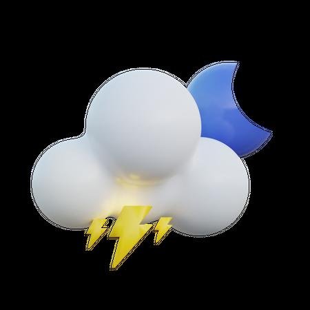 Thunderstorm Night 3D Illustration
