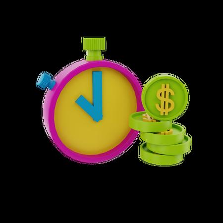 Time Is Money 3D Illustration