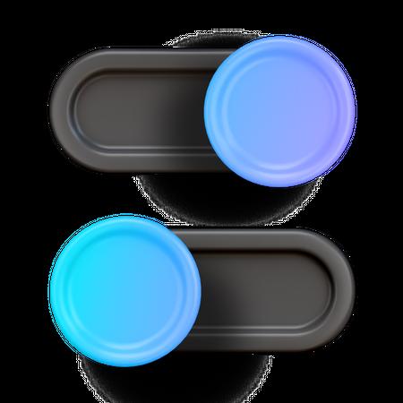 Toggle Button 3D Illustration