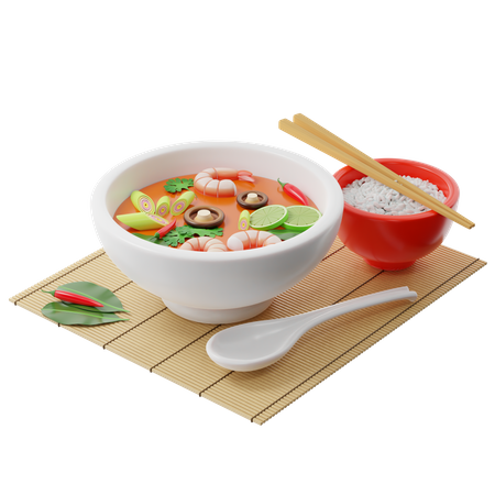 Tom Yam Kung soup in a buddha bowl 3D Illustration
