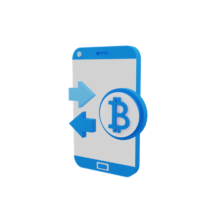 Transaction in cryptocurrency 3D Illustration