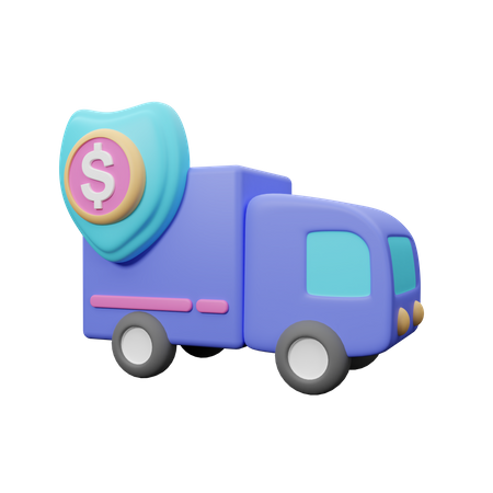 Truck with money 3D Illustration