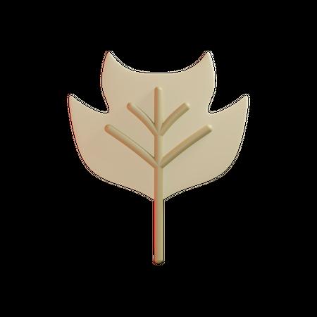 Tulip Poplar Leaf 3D Illustration