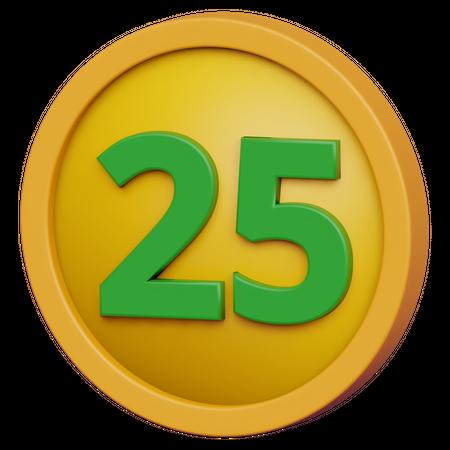 Twenty Five Coin 3D Illustration