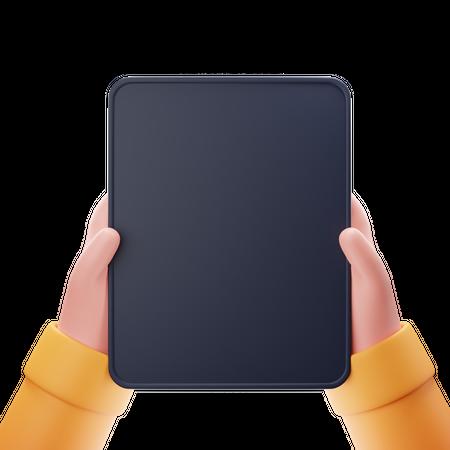 Vertical Tablet Screen 3D Illustration