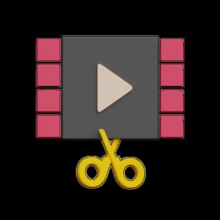 Video Editing 3D Illustration