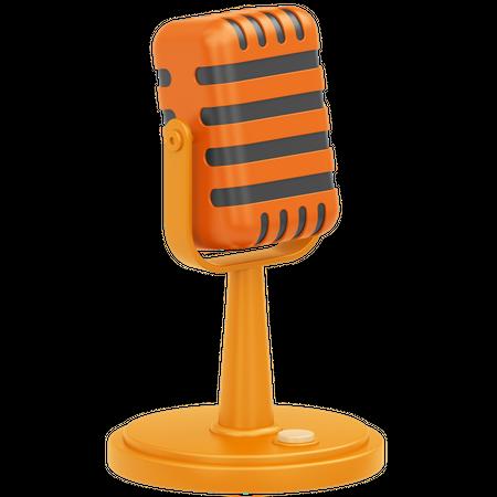 Vintage Microphone 3D Illustration