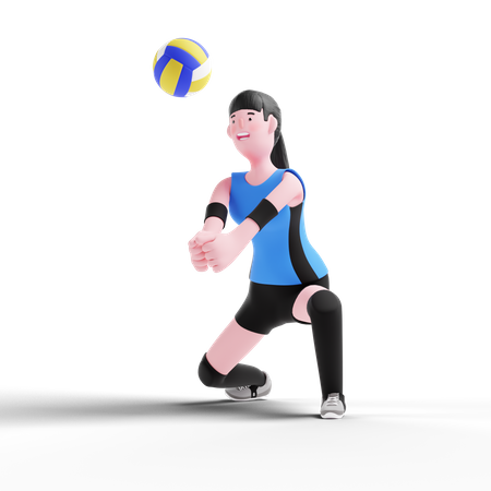 Volleyball player taking ball on hand 3D Illustration