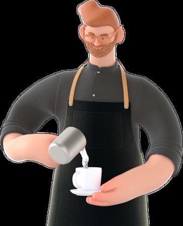 Waiter making coffee 3D Illustration