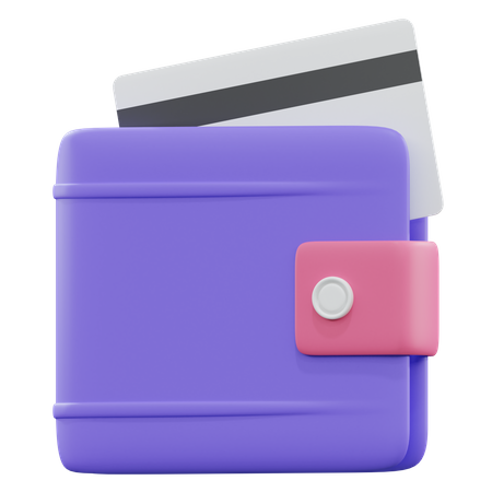 Wallet With Credit Card 3D Illustration