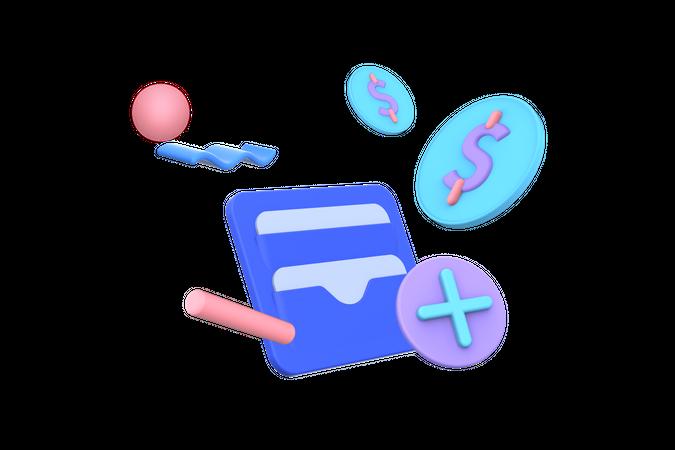 Wallet money 3D Illustration