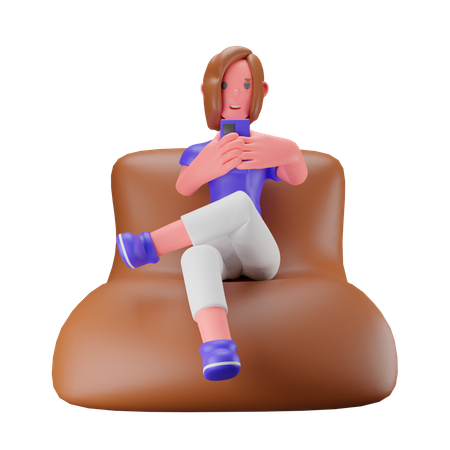 Waman checking her phone while sitting on sofa 3D Illustration