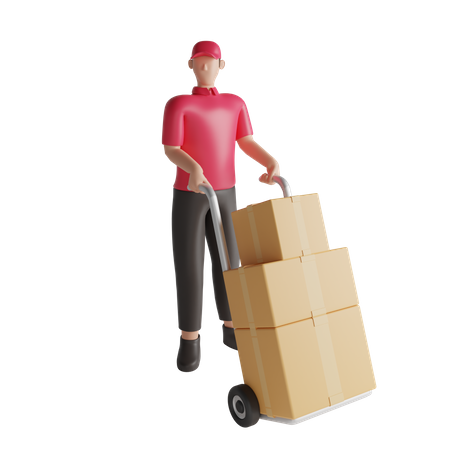 Warehouse worker holding package dolly 3D Illustration
