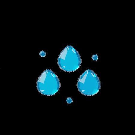 Water Drops 3D Illustration