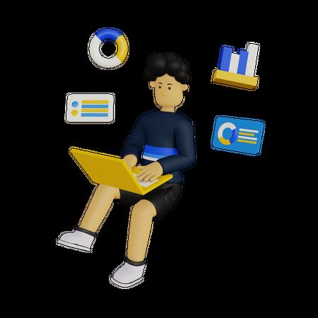 Web Analyzer 3D Illustration