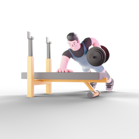 Weightlifter working out with dumbbells 3D Illustration